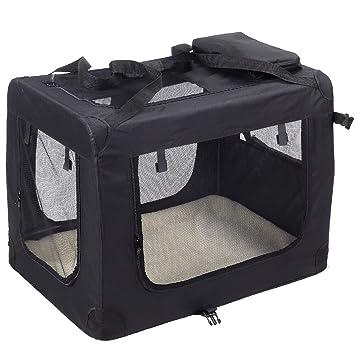 KExing Para Perros Plegable Capazos Transportbox Caja de Viaje Gatos Canino Coche Caja Tela Oxford Negro M: Amazon.es: Productos para mascotas