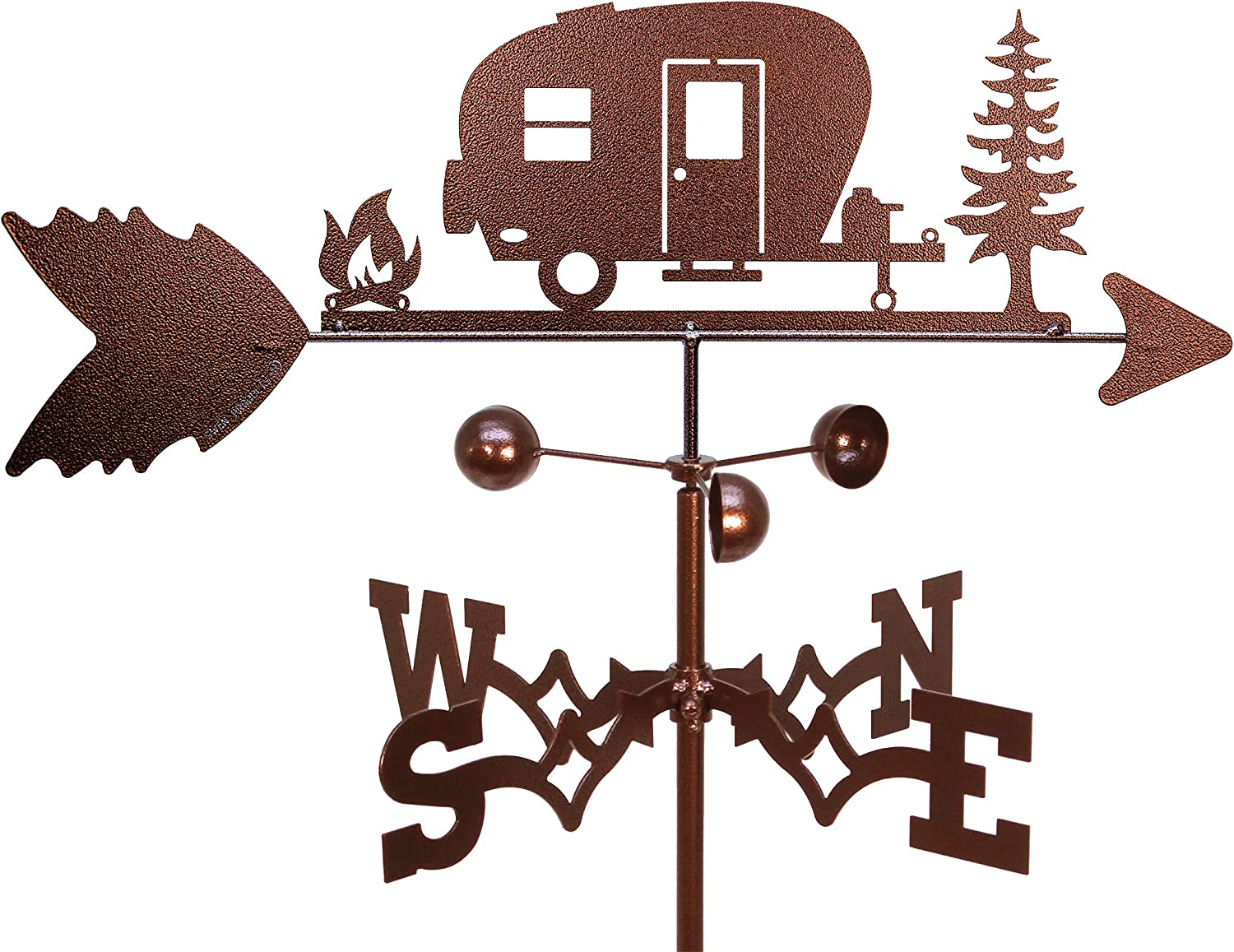 SWEN Products Happy Camper Camp Weathervanes (Garden Stake Included)
