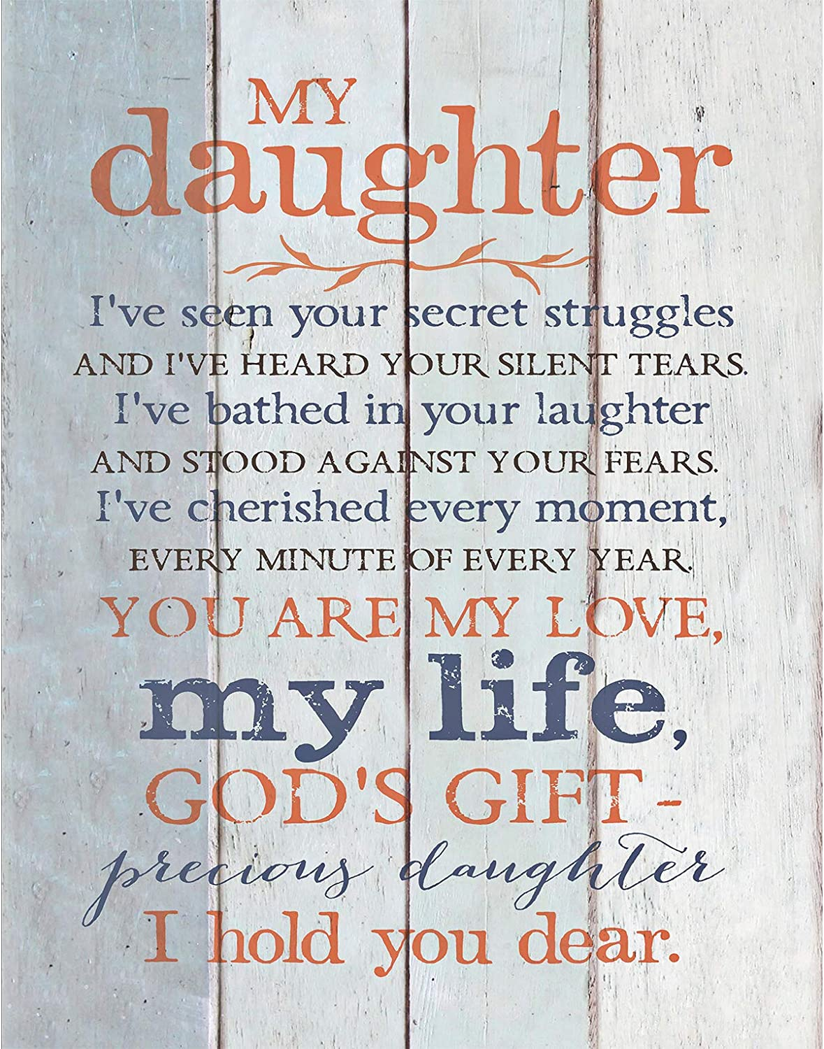 Amazon Com Daughter Wood Plaque With Inspiring Quotes 6x9 Classy Vertical Frame Wall Tabletop Decoration Easel Hanging Hook Christian Family Religious Home Decor Saying My Daughter Home Kitchen