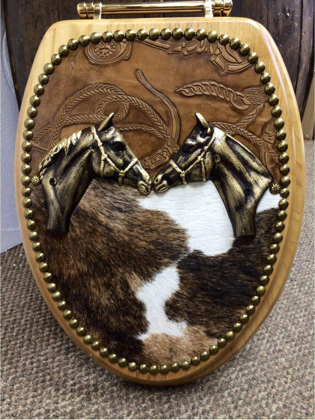 Cowboy Cowhide & Leather Western Decor Horse LOVERS Oak Toilet Seat Cover by Signature Cowboy Western Decor (Image #1)