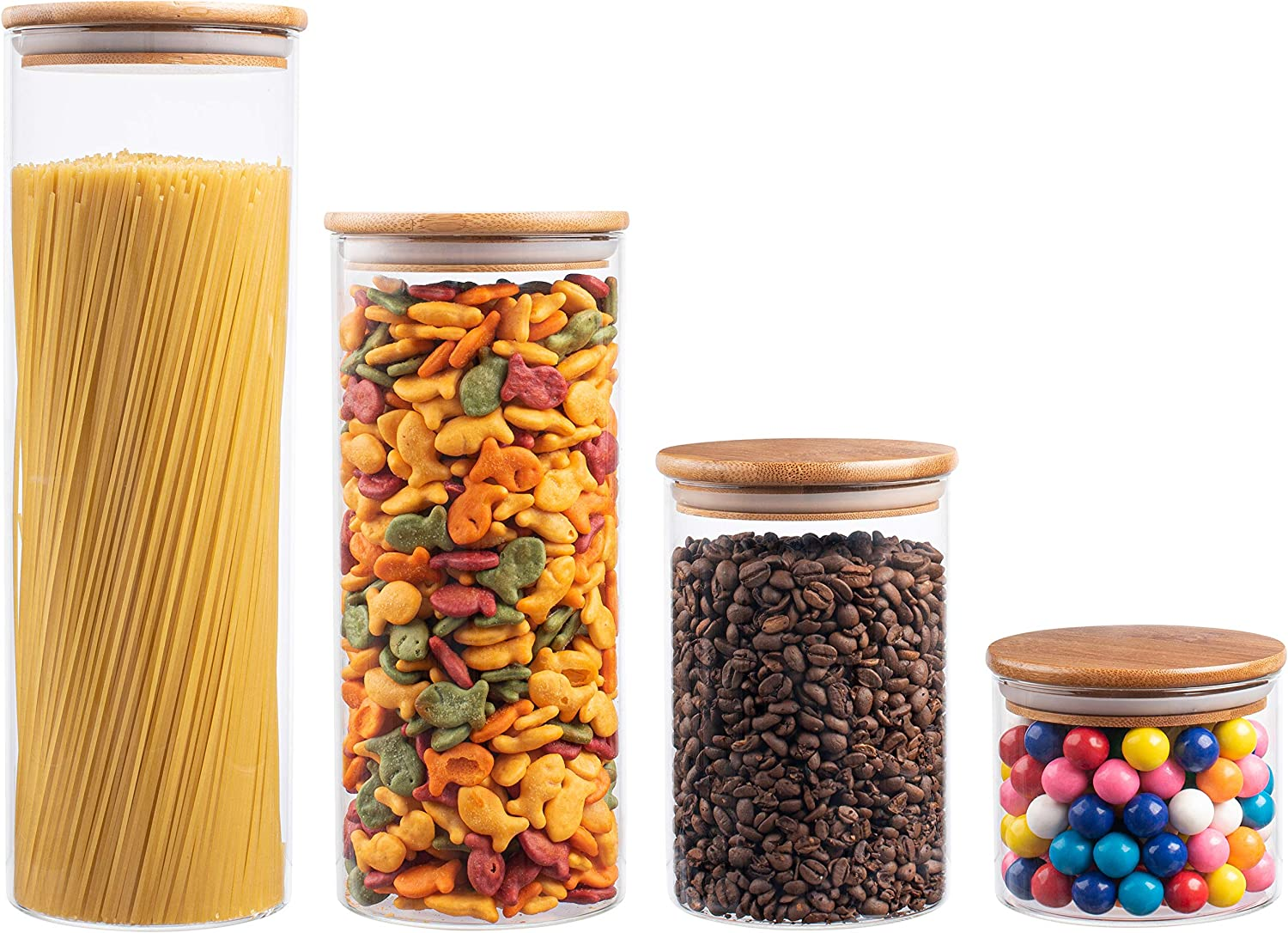 EatNeat 4-Piece Beautiful Glass Kitchen Canister Set with Airtight Bamboo Lids, Round Dry Food Storage Containers