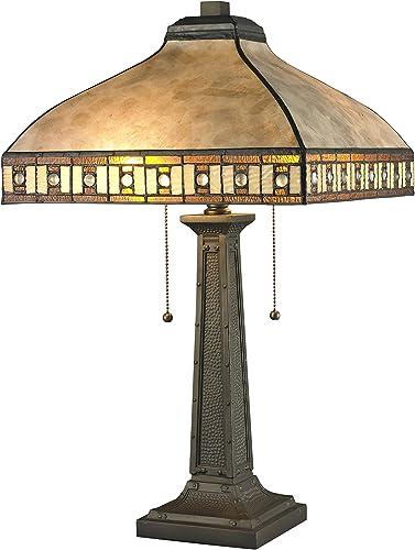 Z-Lite Z14-52TL 2-Light Table Lamp, White Mica Honey Amber Tiffany, Other