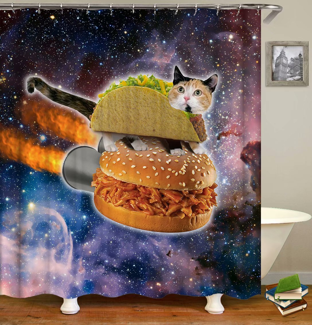Yokii Shower Curtain,Galaxy Hipster Cat Eating Hamburger Solar System Bathroom Shower Curtain Decor Art Prints Waterproof Polyester (Hipster Cat)