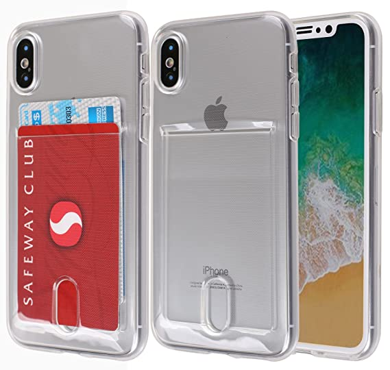 timeless design b8c66 a3f5e iPhone X Case, Maxonor Slim & Strong Clear Plating TPU Gel Shockproof Case  Cover for iPhone X with Card Holder Case (Transparent)