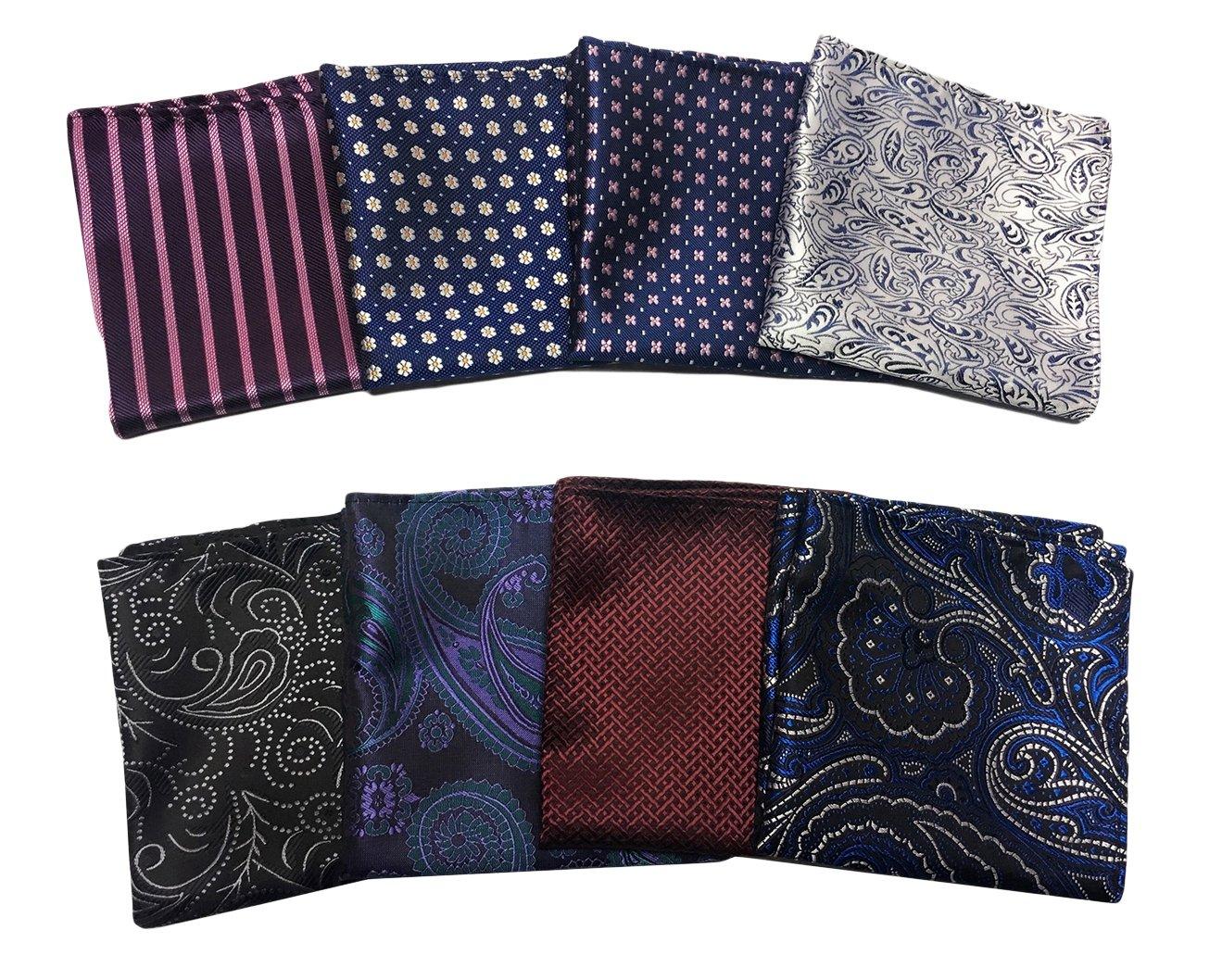 MENDENG Men's 8 Pack Mixed Paisley Floral Pocket Square Wedding Handkerchief