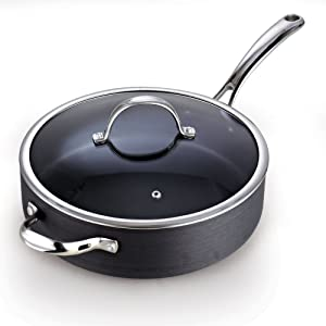 Cooks Standard 00346 5 QT Hard Anodized Nonstick Deep Saute pan with Lid, Black