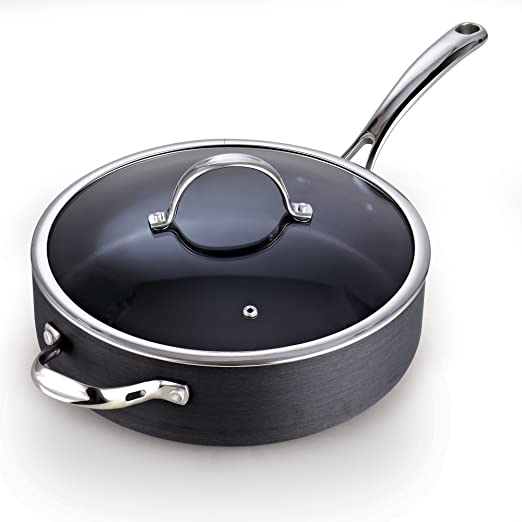 Amazon Com Cooks Standard 00346 5 Qt Hard Anodized Nonstick Deep Saute Pan With Lid Black Kitchen Dining