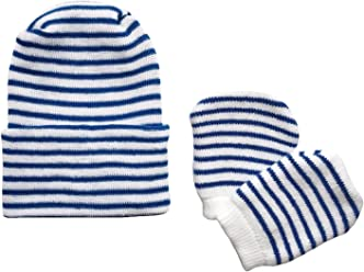 af7dc674064 Newborn Baby Navy   White Striped Hospital Hat and Mitten Set by Nurses  Choice