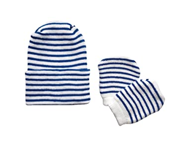 d55606be76c Image Unavailable. Image not available for. Color  Newborn Baby Navy   White  Striped Hospital Hat ...