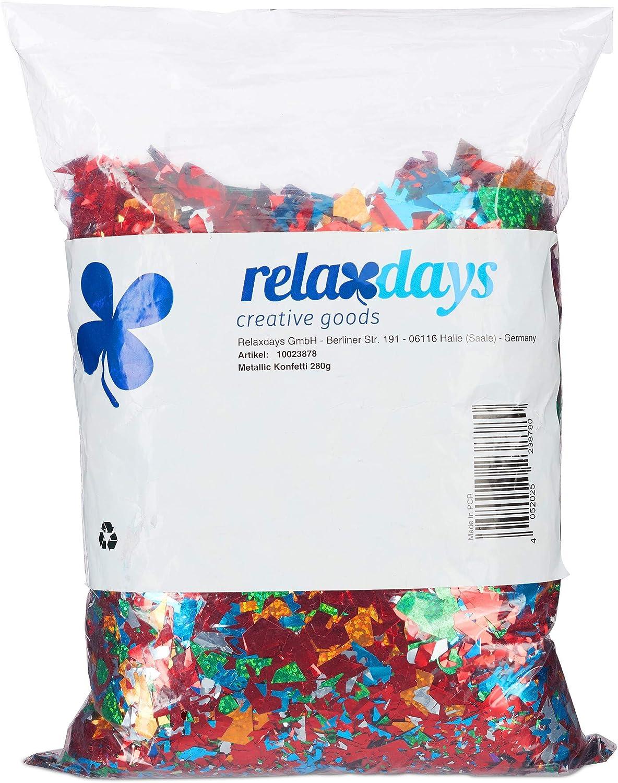 Relaxdays, Multicolor, 5 x 27 x 17 cm Bolsa de Confeti XXL Metálico Brillante, Aluminio