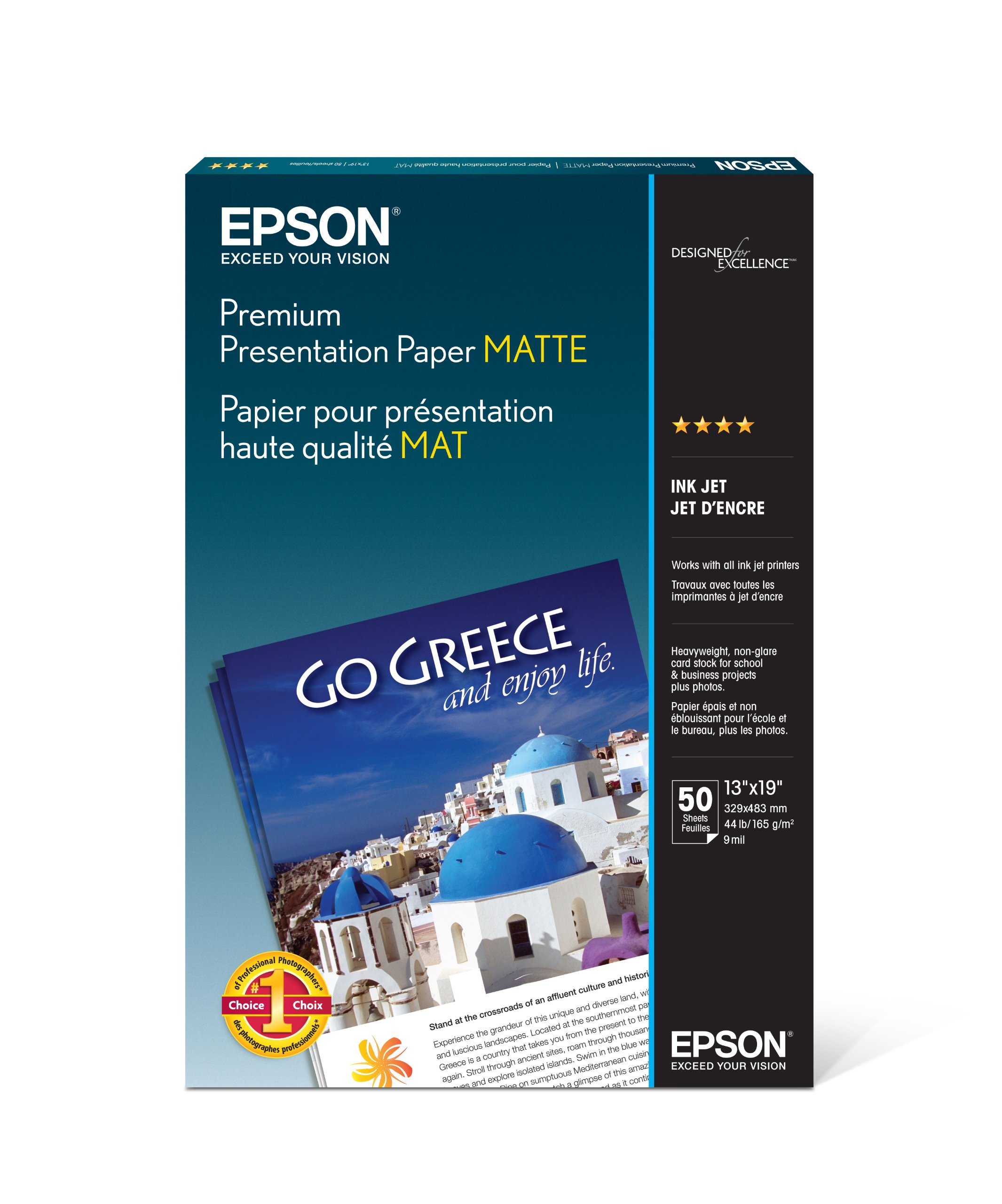 Epson Premium Presentation Paper MATTE (13x19 Inches, 50 Sheets) (S041263) by Epson