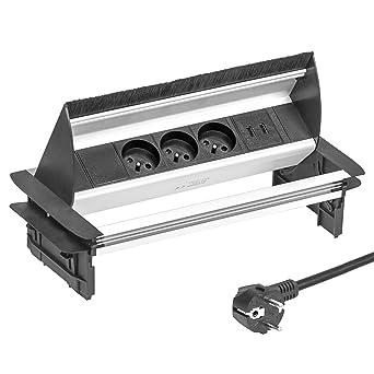 Elbe Bloc Prise Escamotable 3 Prises de Courant 2 USB Multiprise  Encastrable avec Brosse à poussière 0608644aedce