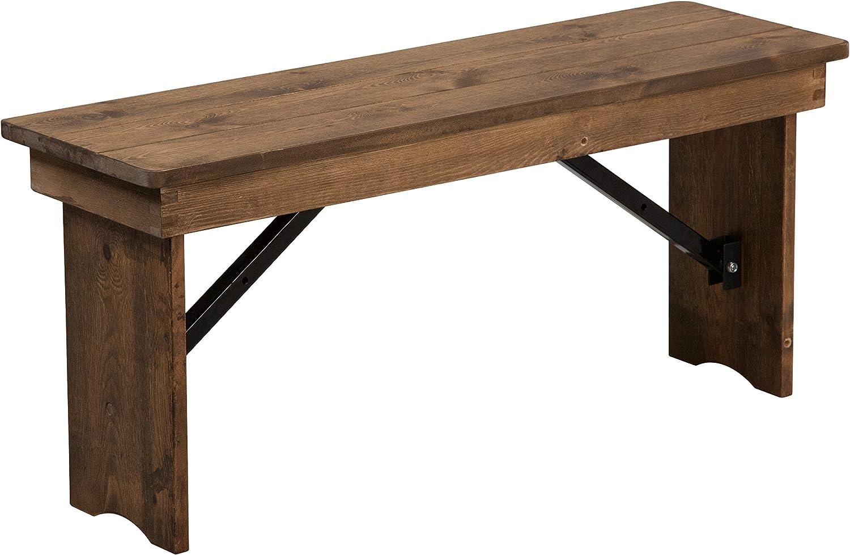 Flash Furniture HERCULES Series 40'' x 12'' Antique Rustic Solid Pine Folding Farm Bench - XA-B-40X12-GG