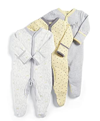 db33719b3 Mamas and Papas Baby 3 Pack Animal Sleepsuits Footies