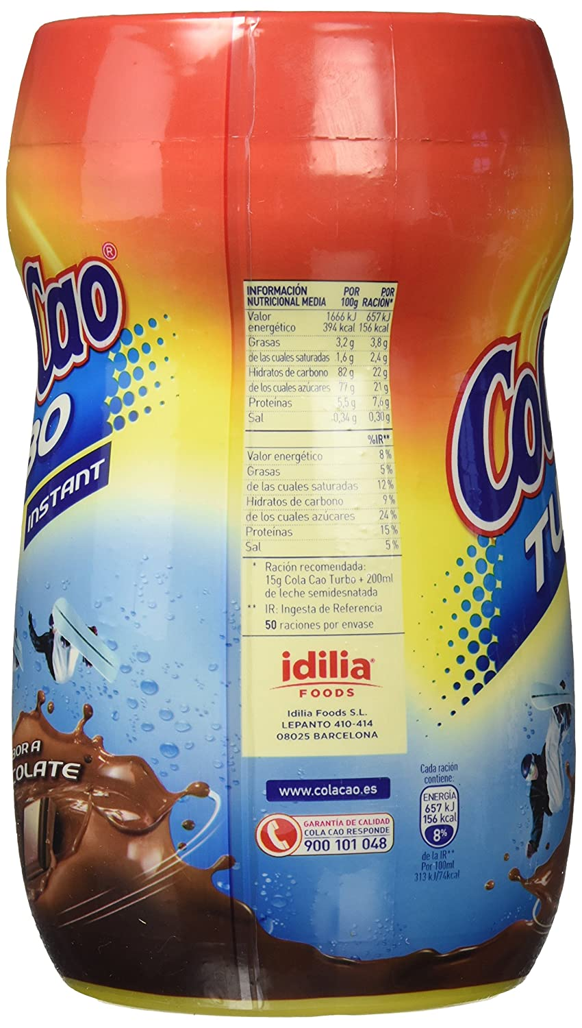 Colacao Turbo Bebida con Sabor a Chocolate 750g - [Pack de 5 ...