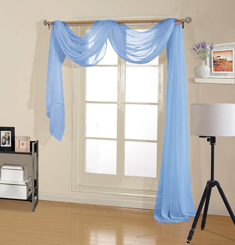 "Decotex Premium Quality Sheer Voile Scarf Valance for Home & Event Designs (54"" X 216"", Light Blue)"
