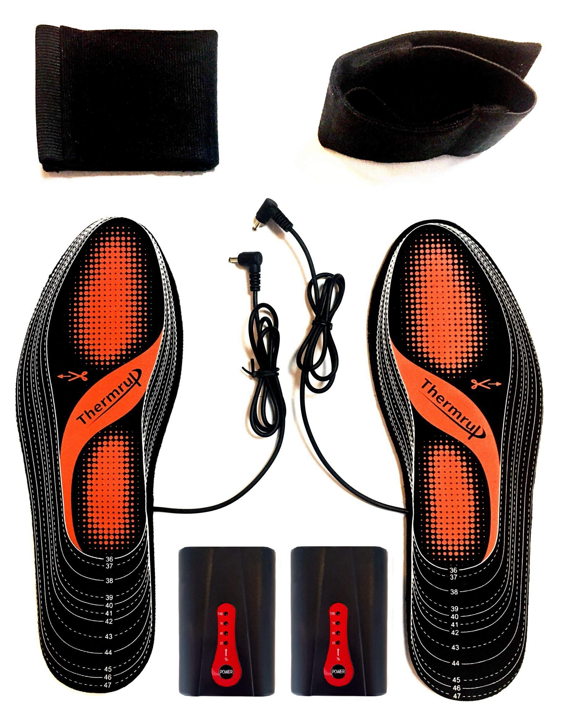 Thermrup Electric Heated Insole Foot Warmers Washable 5.5-12.5, Battery Operated(4 Levels),high Temperature! by Thermrup