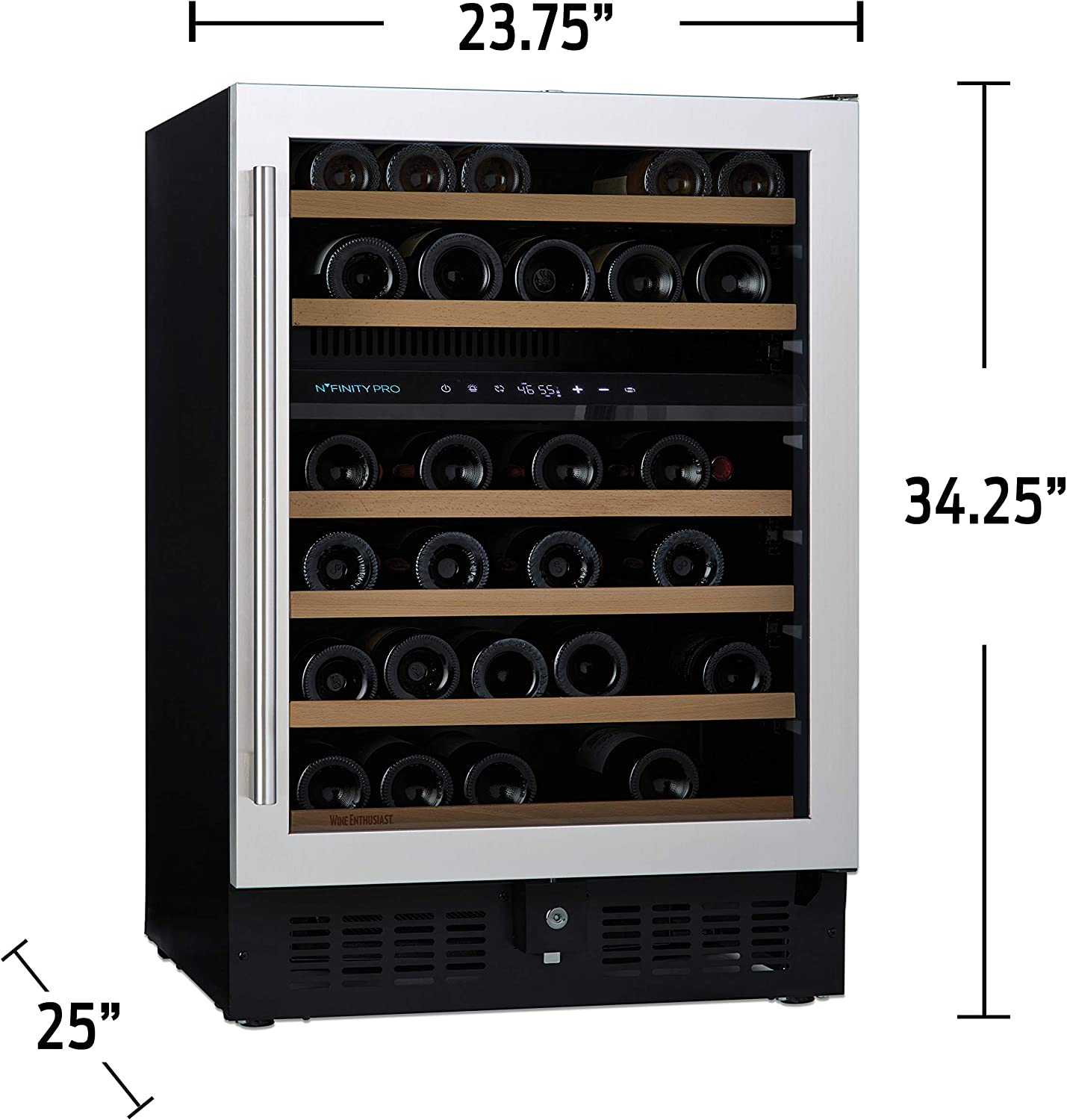N\'Finity Pro S By Wine Enthusiast &Ndash; 46 Bottle Dual Zone Built-In Or Free-Standing Wine Fridge, Stainless Steel
