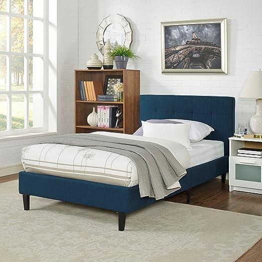 Modern Contemporary Urban Design Bedroom Twin Size Platform Bed Frame, Navy  Blue, Fabric Wood