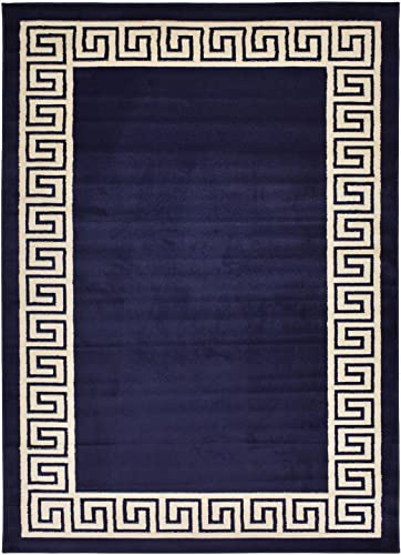 Studio Collection Meander Ancient Roman Design Contemporary Modern Area Rug Rugs 3 Options Meander Navy Blue