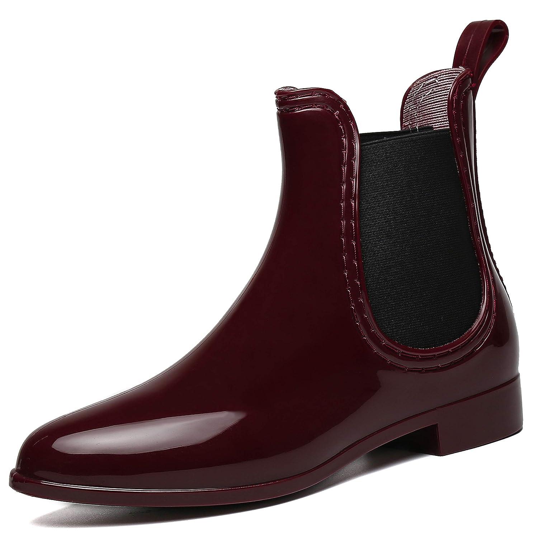 SAGUARO/® Womens Wellington Ankle Boots Ladies Wellies Rain Boots Chelsea Shoes