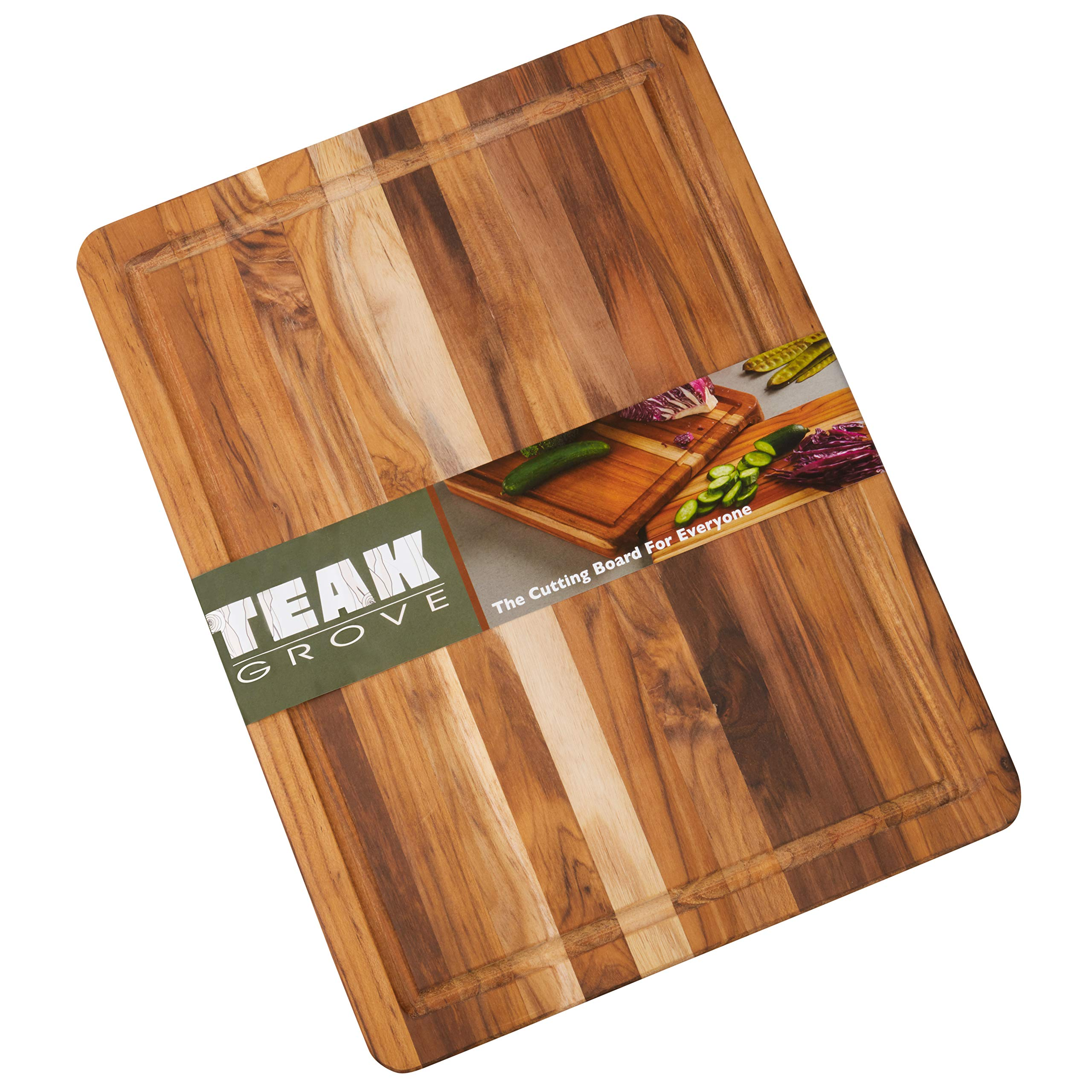 Teak Cutting Board - 16x12'' Wooden Edge Grain Carving Board with Juice Canal - Large Wood Kitchen Chopping Board (Оne Расk)