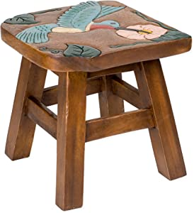 Sea Island Imports Hummingbird Design Hand Carved Acacia Hardwood Decorative Short Stool