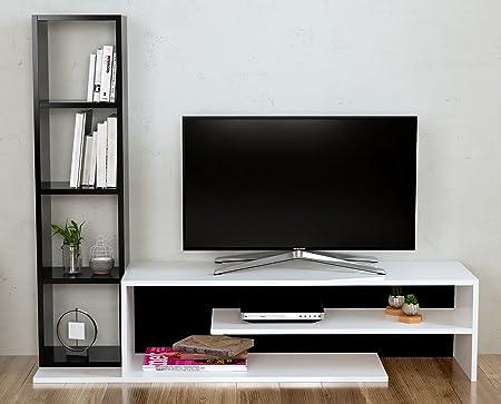 PEONY Mueble salón comedor para televisión - Blanco / Negro - Mueble bajo para televisor - Mesa de Televisión en diseño elegante: Amazon.es: Juguetes y juegos