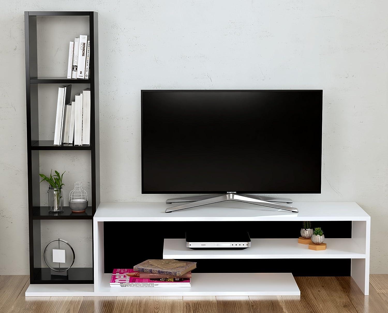 PEONY Set Soggiorno - Parete Attrezzata - Mobile TV Porta con mensola in moderno design (Bianco / Nero) Homidea