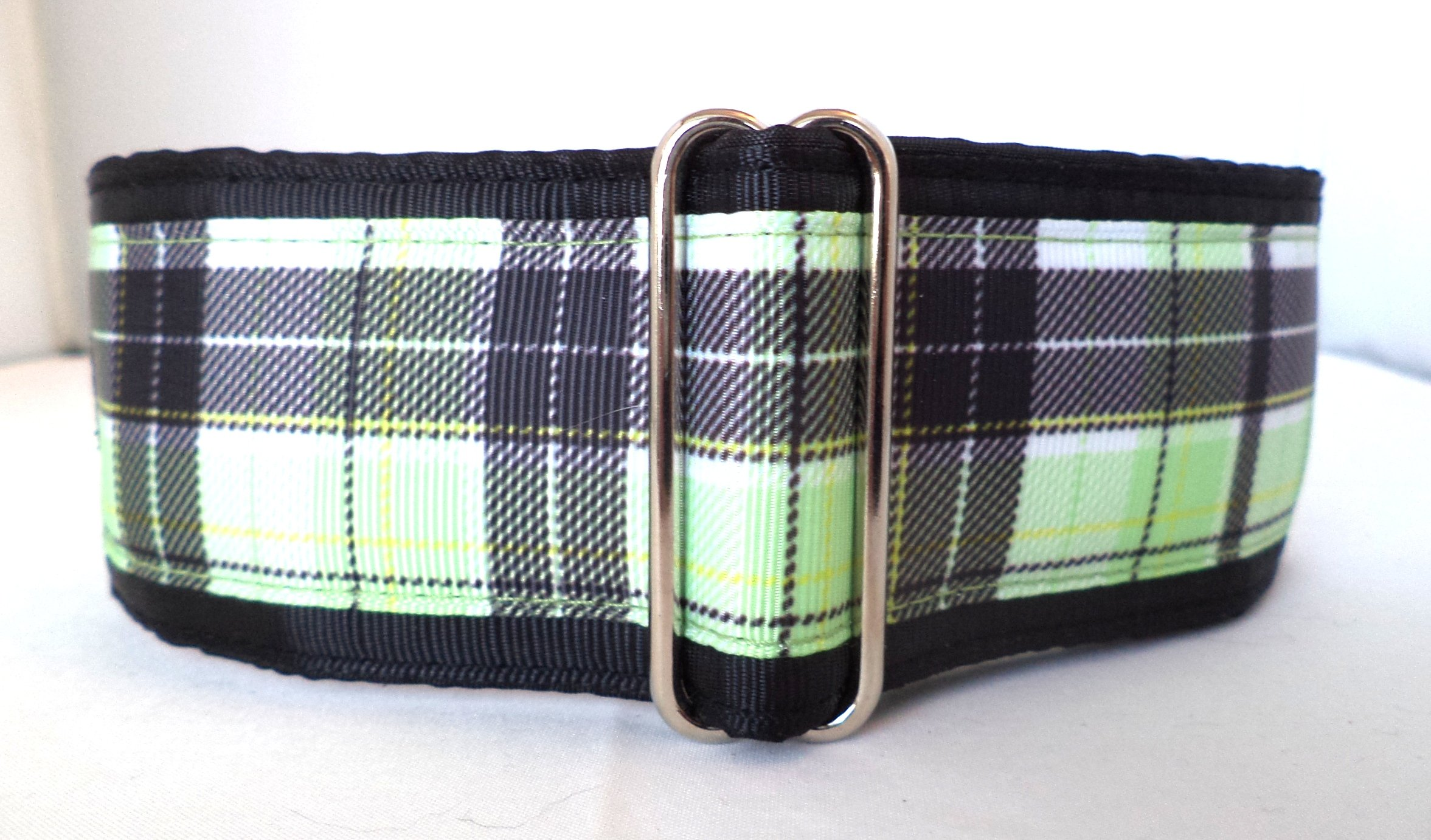 Regal Hound Designs 2'' Wide Martingale Dog Collar, Lined, 2 Sizes: Medium, Large/XL, Green and Black Plaid Design (Large/XL 17-26'') by Regal Hound Designs