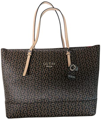 8b1b8bed8 Amazon.com: Guess Women's Purse Handbag Decimals Tote Brown Natural ...