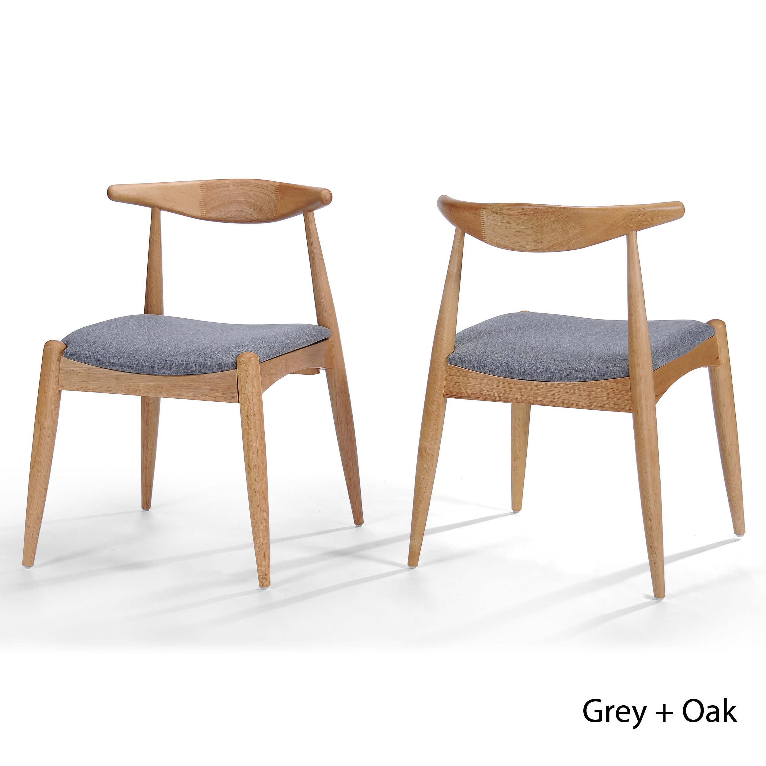 Christopher Knight Home 300008 Francie  Grey Fabric With Oak Finish Dining Chairs (Set Of 2), Grey And Oak