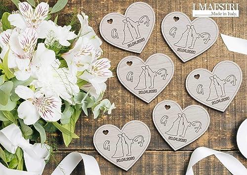 Obbligatori I Segnaposto Al Matrimonio.Set Di 20 Pezzi O Piu Di Cuore In Legno Sposi Personalizzato Con