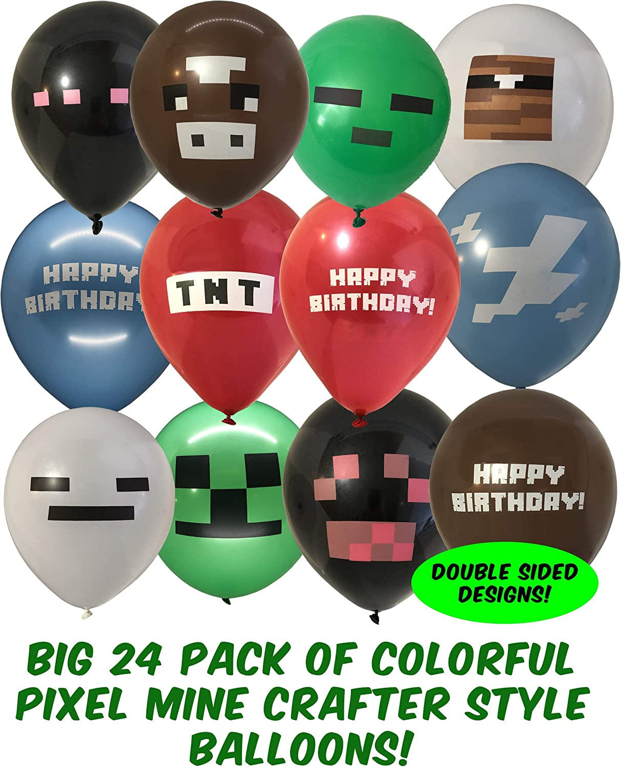 Miner Crafting Style Decorations Pixel Game Miner craft Theme Party Favors Green Pixel Style Game Birthday Party Decorations 24pcs 12 Pixel Style Game Balloons