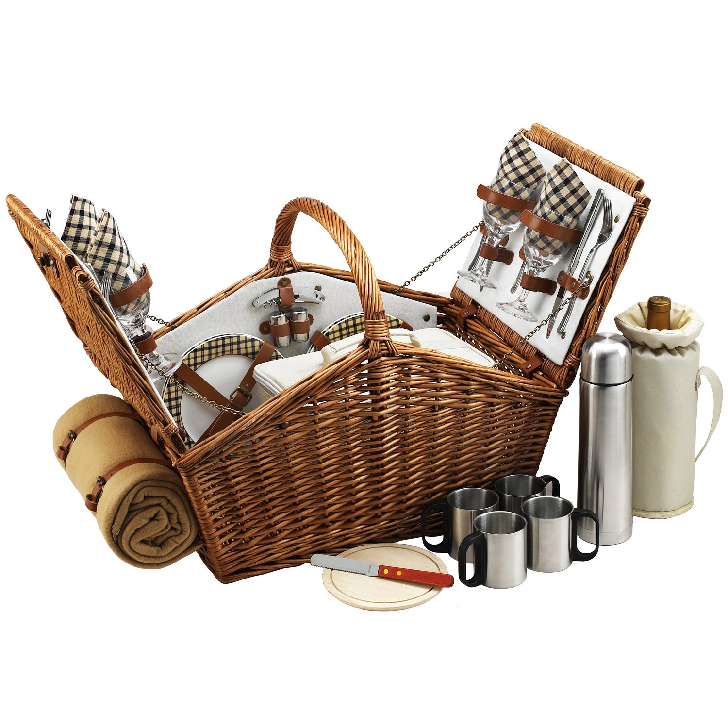 Picnic at Ascot Huntsman English-Style Willow Picnic Basket with Service for 4,  Coffee Set and Blanket - London Plaid