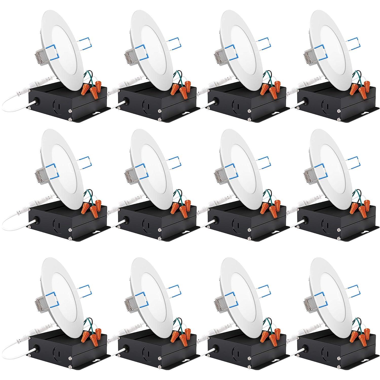 格安販売中 Sunco Lighting 12個パック Sunco 4インチ B07D8CPTCJ スリム 湿気エリアに 超薄型 埋め込み式 レトロフィットキット LED 天井照明器具 ジャンクションボックス付き 10ワット (60W EQ) 600LM 調光機能付き ジャンクションボックスまたは缶 湿気エリアに B07D8CPTCJ 2700K - Soft White, イズシグン:28a22d4a --- a0267596.xsph.ru