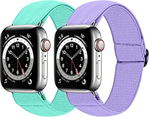 MEFEO 2-Pack Adjustable Elastic Apple Watch Bands Compatible with Apple Watch 38mm 40mm 42mm 44mm,Nylon Sport Women Bracelet Strap for iWatch SE Series 6/5/4/3/2/1(Mint Green+Lavender, 42mm/44mm)