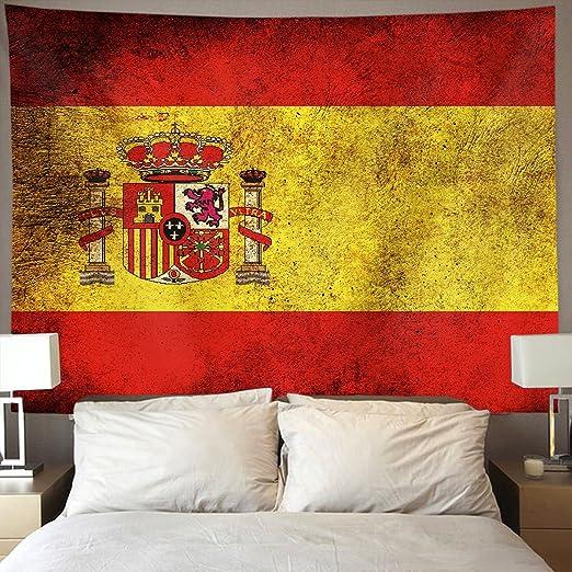 US TANG Tapiz de pared con bandera de España vintage hippie para colgar en la pared, decoración del hogar, manteles extra grandes para dormitorio, salón, dormitorio: Amazon.es: Hogar