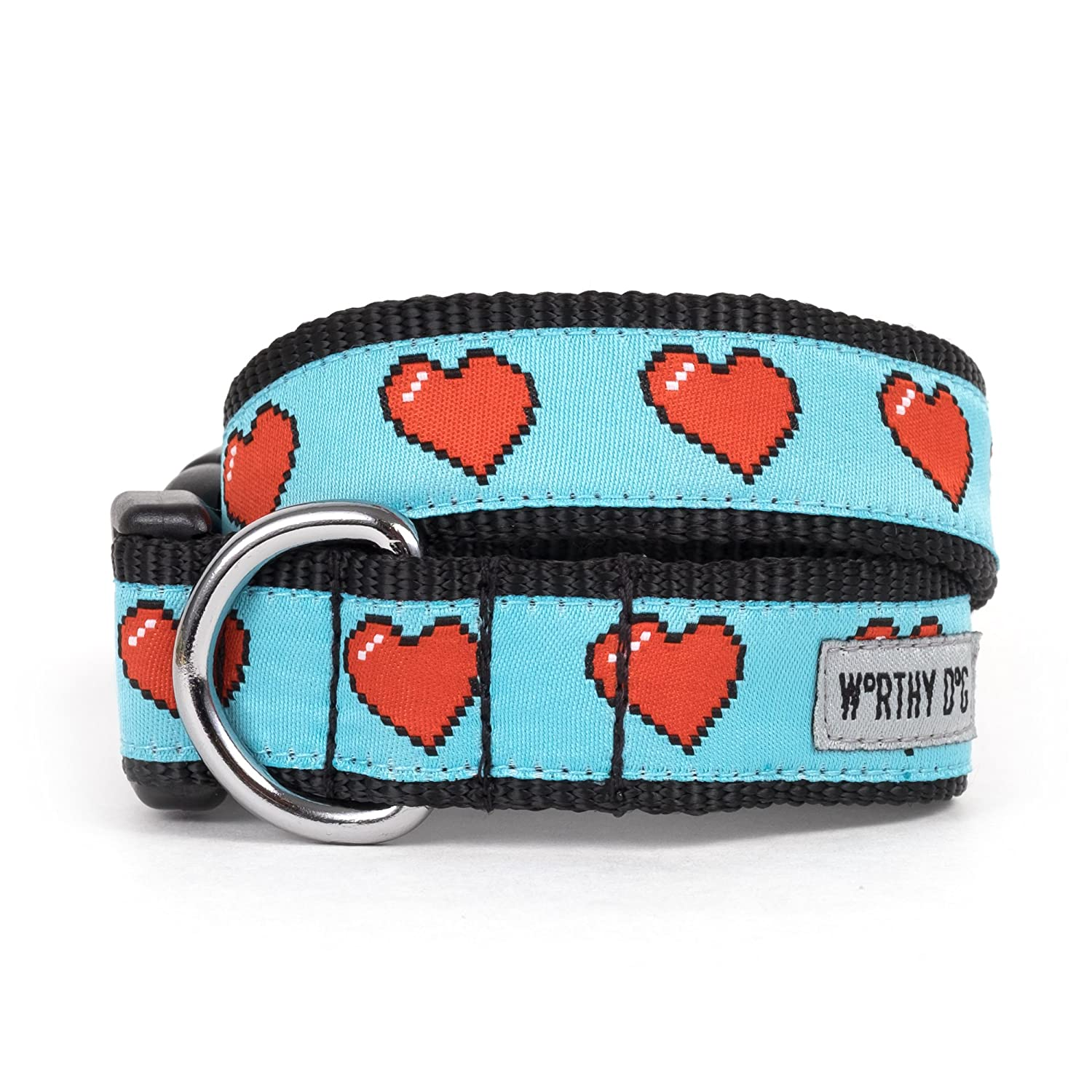 bluee, X-Small The Worthy Dog Graphic Red Heart Adjustable Designer Pet Dog Collar, bluee, X-Small