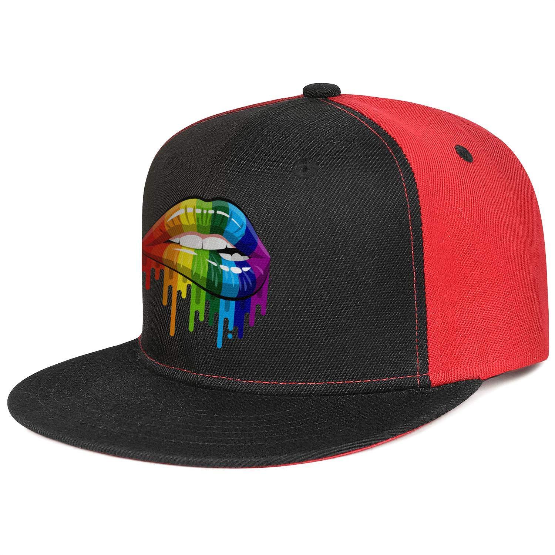 Gay Homosexual Lesbian Rainbow Lips Pride Men Women Trucker Hats Casual Snapback Flatbrim Cap