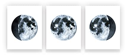 Holmkell Set of 3 Moon Phases Cosmic Decor Posters 8 x 10 Inches Watercolor on
