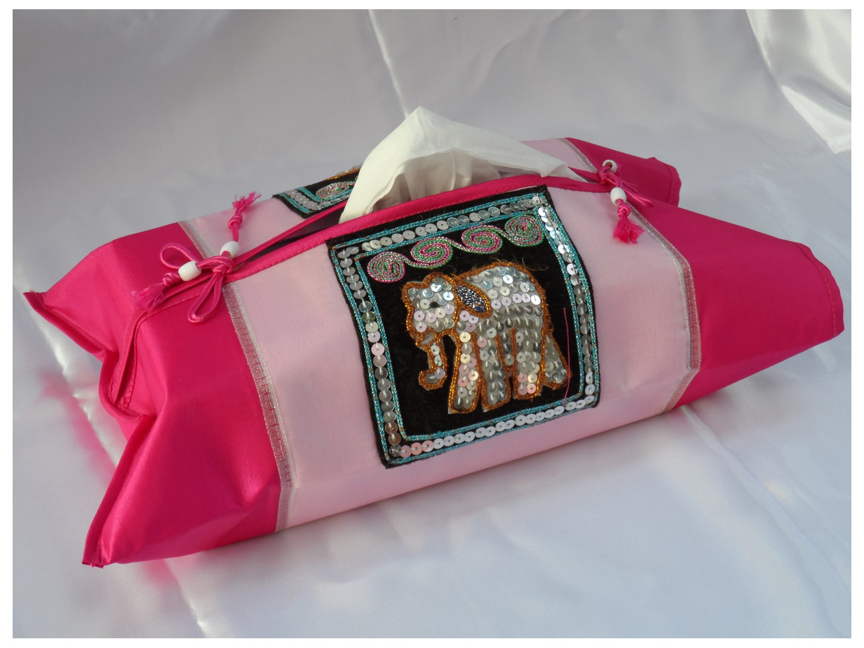 Tissue Box Cover Holder (Pink) with Elephant - Thai Silk/Standard Size