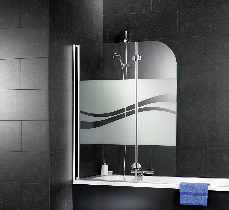 112x140 cm Schulte pare baignoire rabattable verre d/écor liane paroi de baignoire r/éversible 2 volets pivotants profil/é aspect chrom/é