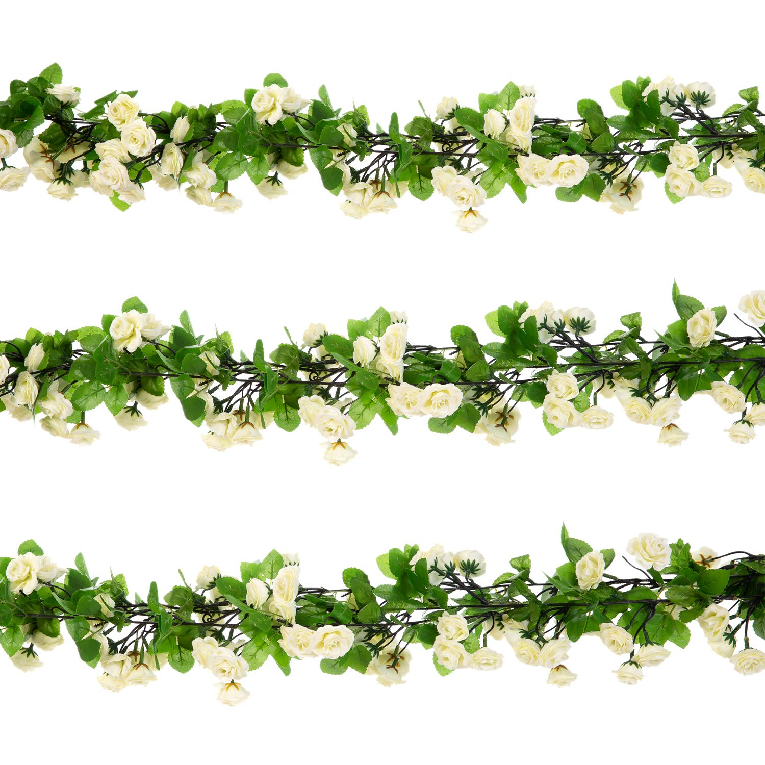 Rose Garland Artificial Rose Vine with Green Leaves 63 Inch Pack of 3 Flower Garland For Home Wedding Decor (champagne) [Energy Class A+++] LHC-1
