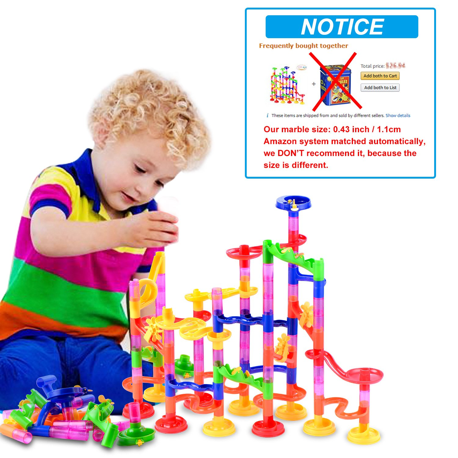 130Pcs Educational Construction Maze Block Toy Set with Glass Marbles for Kids and Parent-Child Game HUA XU TOYS FACTORY Gifts2U Marble Run Toy