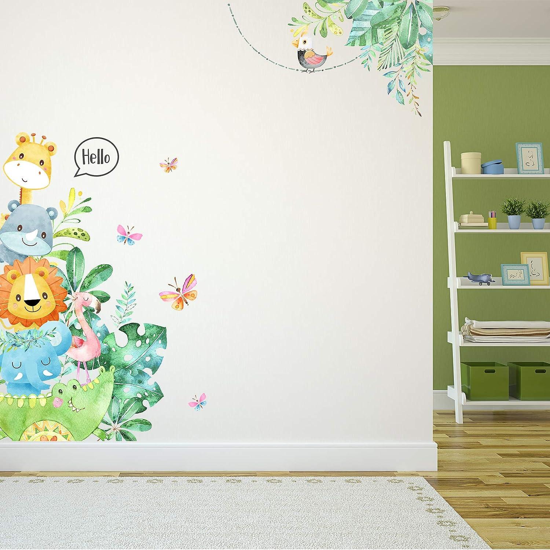 Pegatinas de Pared de Animales de Dibujos Animados Calcomanías Murales de Animal DIY Decoración de Pared de Animal Pegatinas de Puerta de Habitación de Niños para Guardería de Bebé Aula