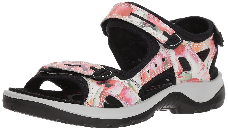 ECCO Women's Yucatan Sandal B074FBGVM4 37 EU/6-6.5 M US|White/Flower Print