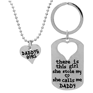 54d2ab42 Amazon.com: Art Attack Daddy's Girl Necklace,Stole My Heart Pendant  Keychain, Birthday (Silver): Art Attack: Jewelry