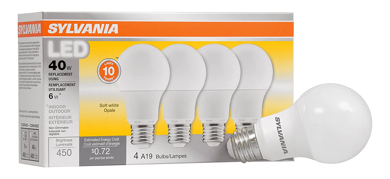 SYLVANIA, 40W Equivalent, LED Light Bulb, A19 Lamp, 4 Pack, Soft White, Energy Saving & Longer Life, Value Line, Medium Base, Efficient 6W, 2700K