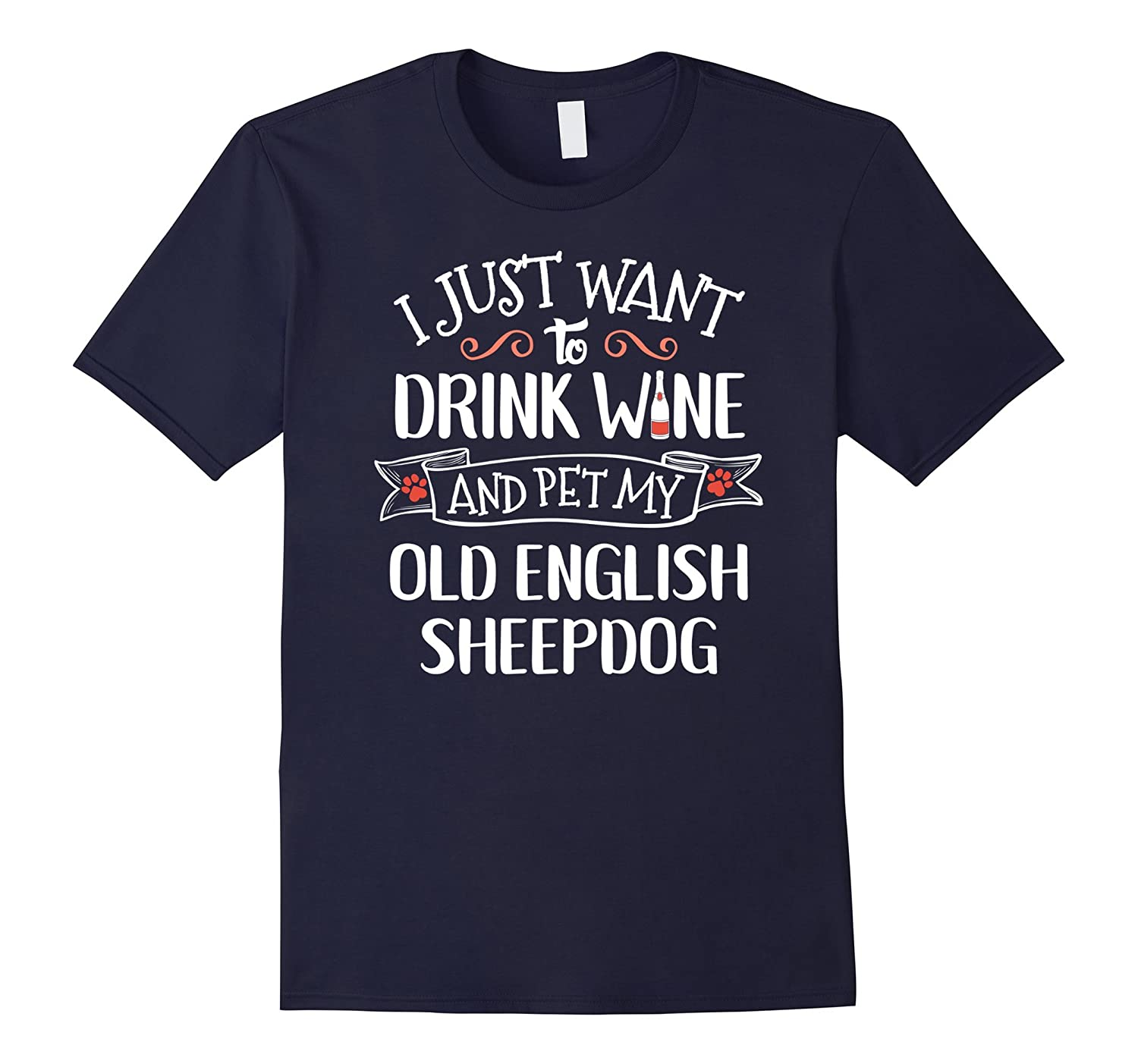 Old English Sheepdog T-Shirt for Wine Lovers  Dog Owners